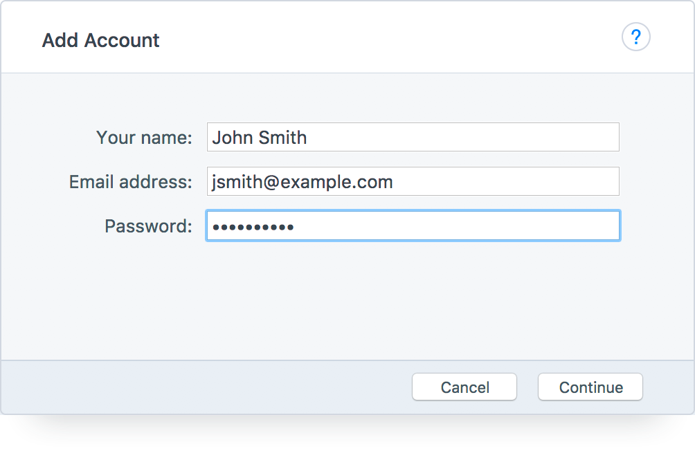 Postbox – Enter Account Credentials