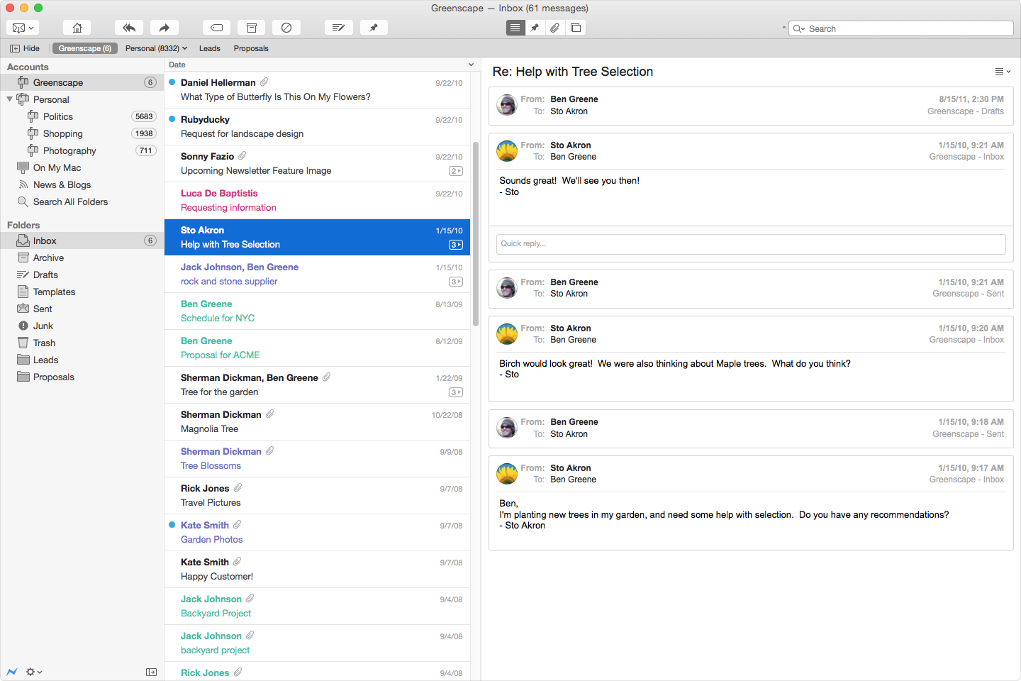 Postbox for Mac OS X full screenshot